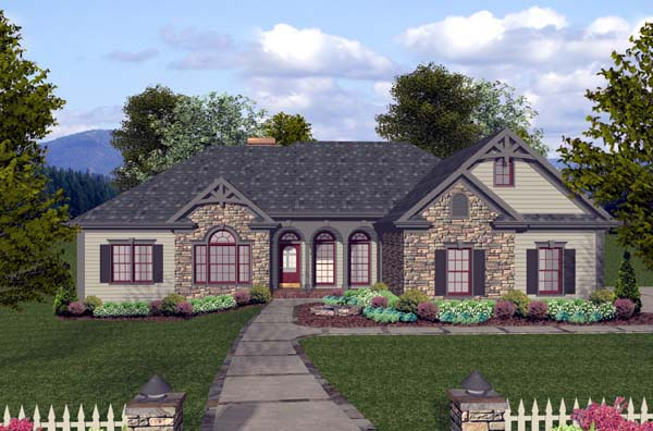Craftsman European Ranch Elevation of Plan 74812