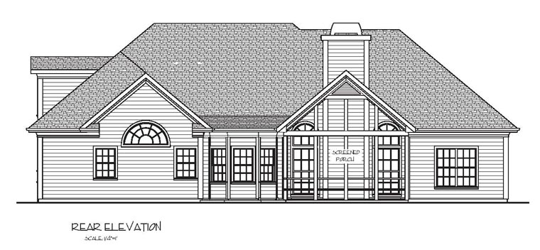 Craftsman European Ranch Rear Elevation of Plan 74812