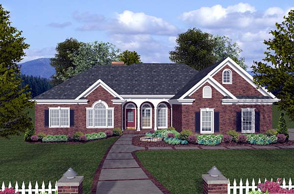 One-Story, Traditional House Plan 74813 with 4 Beds, 3 Baths, 3 Car Garage Elevation