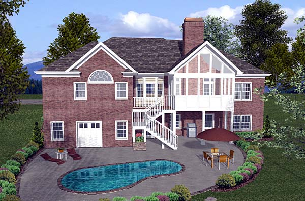 One-Story, Traditional House Plan 74813 with 4 Beds, 3 Baths, 3 Car Garage Rear Elevation