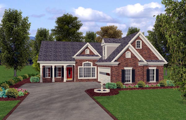 One-Story, Traditional House Plan 74814 with 3 Beds, 3 Baths, 2 Car Garage Elevation
