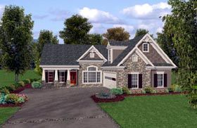 Craftsman House Plan 74815 with 3 Beds, 3 Baths, 2 Car Garage Elevation