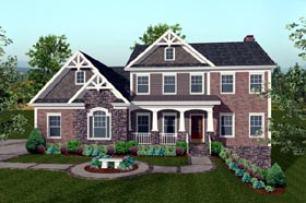 Traditional , Craftsman House Plan 74816 with 4 Beds, 4 Baths, 3 Car Garage Elevation