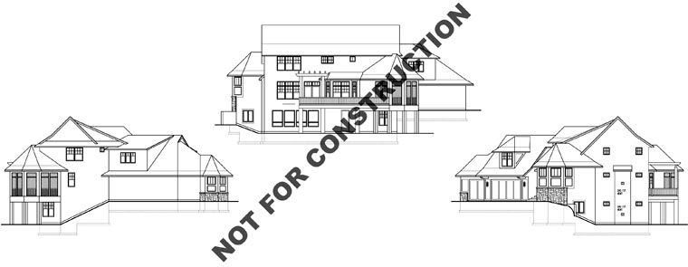 Craftsman House Plan 74828 with 4 Beds, 5 Baths, 3 Car Garage Rear Elevation