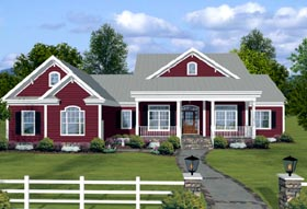 country farmhouse ranch house plan 74834 elevation - Family House Plans