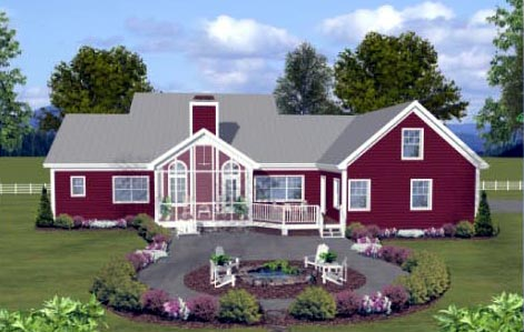 Country Farmhouse Ranch House Plan 74834 Rear Elevation
