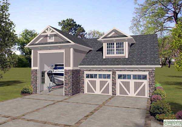 Traditional 2 Car Garage Apartment Plan 74838, RV Storage Elevation