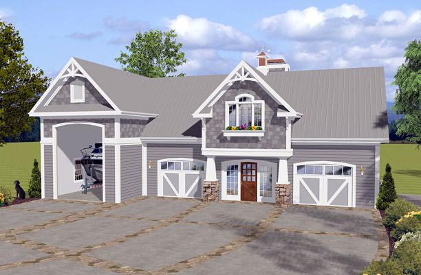 Craftsman 3 Car Garage Apartment Plan 74841 with 1 Beds , 2 Baths , RV Storage Elevation