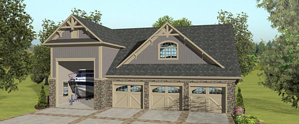 4 Car Garage Apartment Plan 74842 with 2 Beds, 1 Baths, RV Storage Elevation