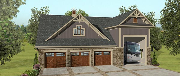 3 Car Garage Apartment Plan 74843 with 2 Beds, 1 Baths, RV Storage Elevation