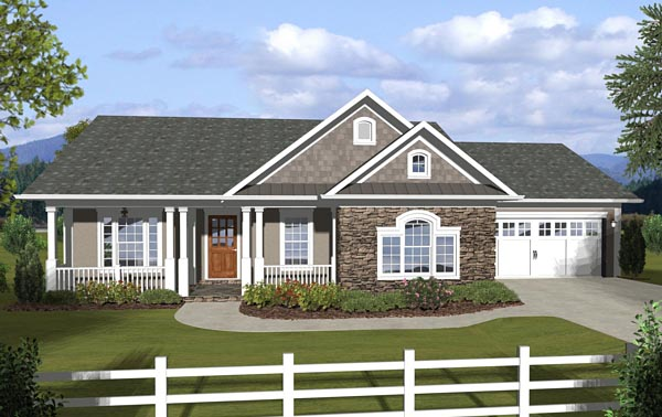 Country Ranch Traditional House Plan 74845 Elevation