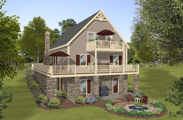 Cottage Country Rear Elevation of Plan 74846