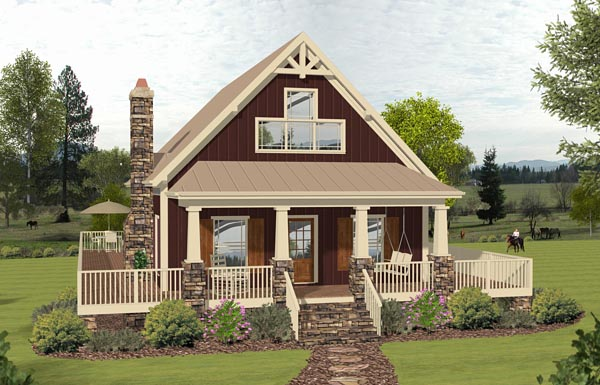 Cottage, Country, Southern House Plan 74847 with 3 Beds, 2 Baths Elevation