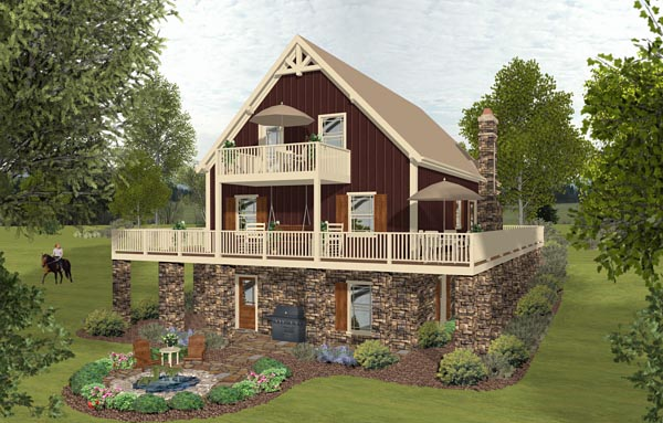 Cottage Country Southern Rear Elevation of Plan 74847