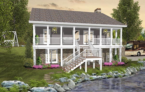 Cottage Country Craftsman House Plan 74849 Rear Elevation