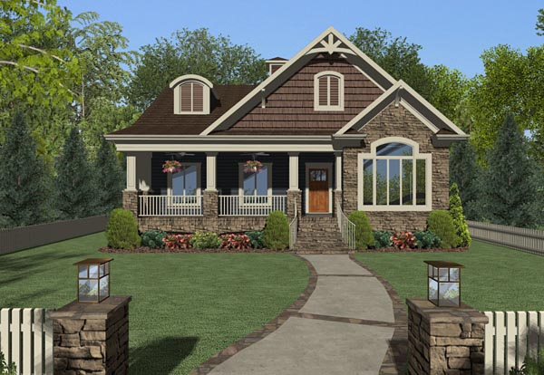 Cottage Country Craftsman House Plan 74850 Elevation