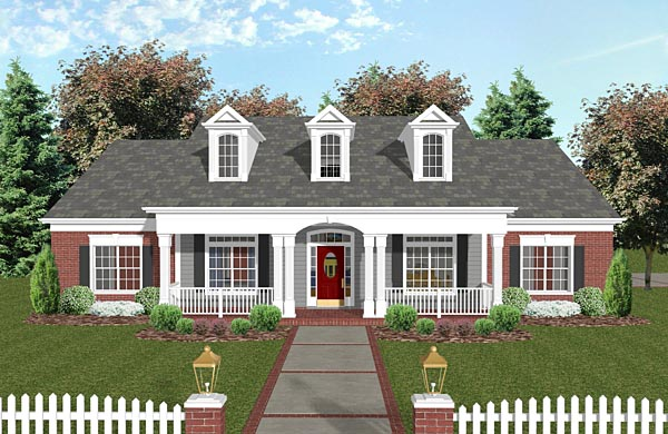 Country, Traditional House Plan 74851 with 4 Beds, 3 Baths, 2 Car Garage Elevation