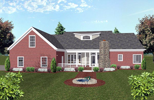 Country, Traditional House Plan 74851 with 4 Beds, 3 Baths, 2 Car Garage Rear Elevation