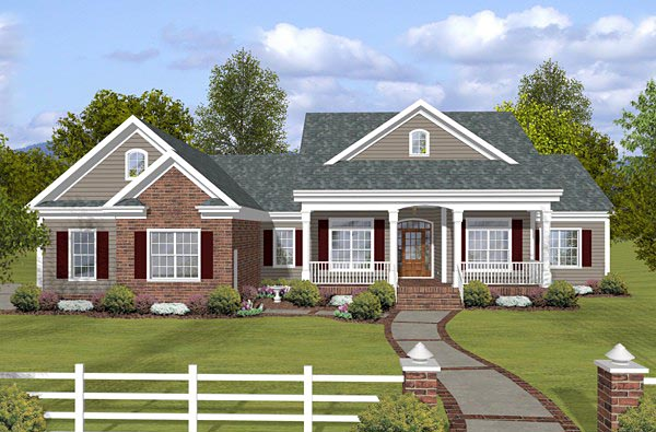 Country, Traditional House Plan 74853 with 3 Beds, 3 Baths, 3 Car Garage Front Elevation