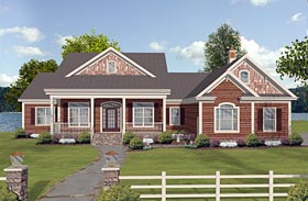Cottage Country Craftsman Ranch House Plan 74854 Elevation