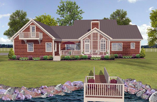 Cottage Country Craftsman Ranch House Plan 74854 Rear Elevation