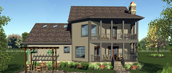 Contemporary Cottage Craftsman European Southern House Plan 74855 Rear Elevation