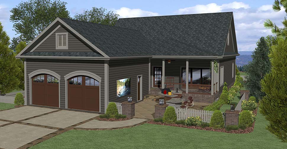 Contemporary Country Craftsman House Plan 74857 Rear Elevation