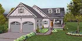 House Plan 74858 | Cottage Country Craftsman European Traditional Style Plan with 1806 Sq Ft, 3 Bedrooms, 3 Bathrooms, 2 Car Garage Elevation