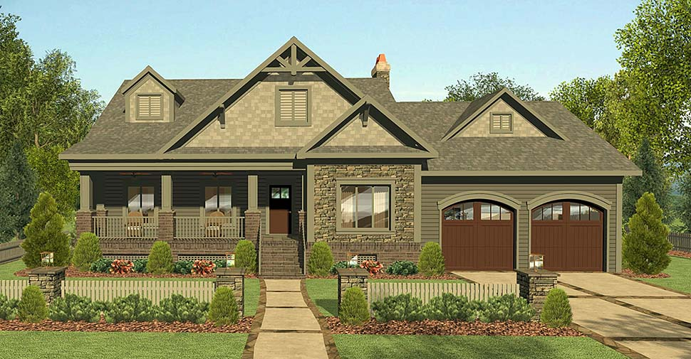 Cottage Country Craftsman Ranch Elevation of Plan 74859