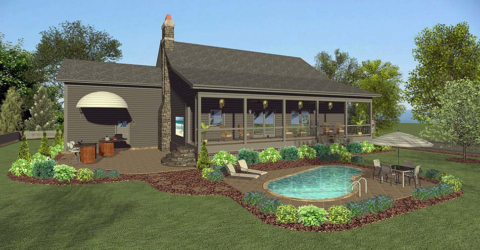 Cottage Country Craftsman Ranch Rear Elevation of Plan 74859
