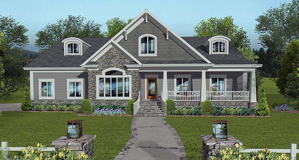 European , Ranch , Traditional House Plan 74860 with 4 Beds, 3 Baths, 3 Car Garage Elevation