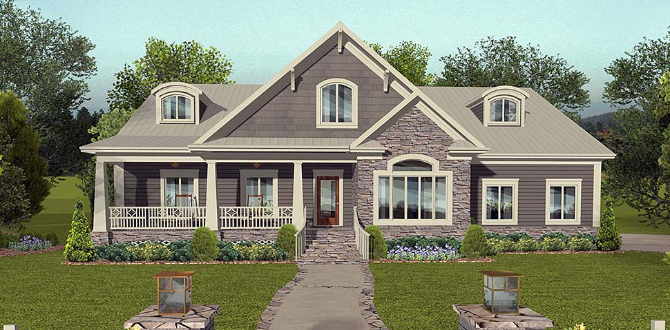 Cottage Country Craftsman Traditional Elevation of Plan 74861