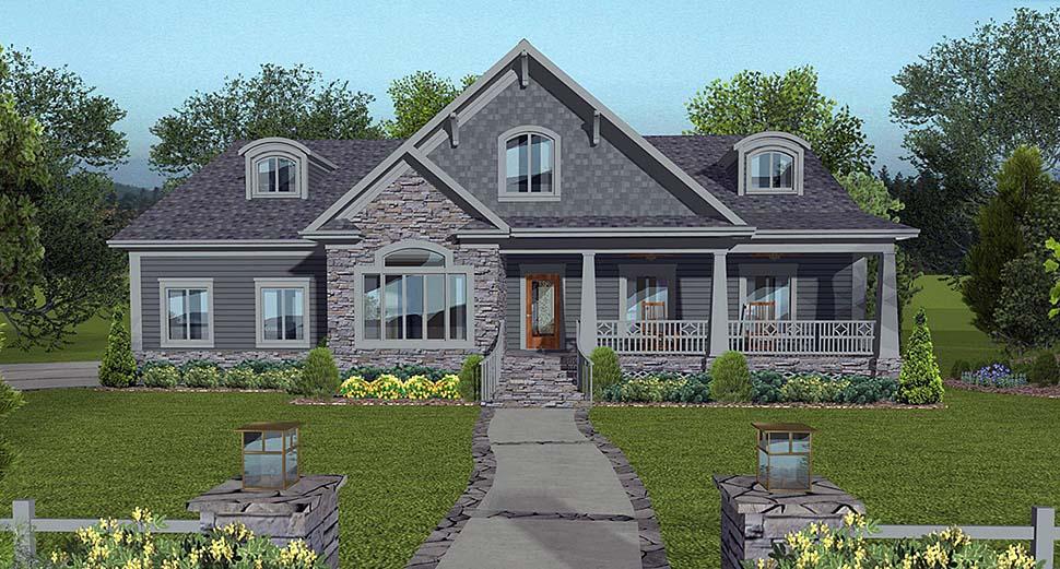 Cottage Craftsman Traditional House Plan 74862 Elevation