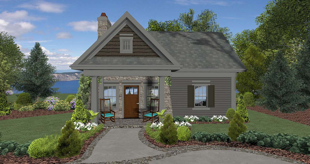 Cottage , Craftsman , Tuscan House Plan 74863 with 1 Beds, 1 Baths Elevation