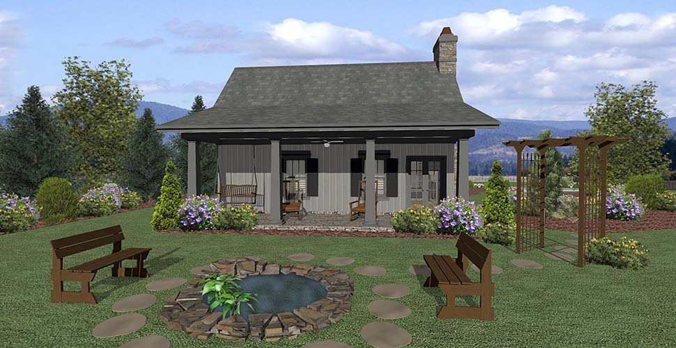 Cottage , Craftsman , Tuscan House Plan 74863 with 1 Beds, 1 Baths Rear Elevation