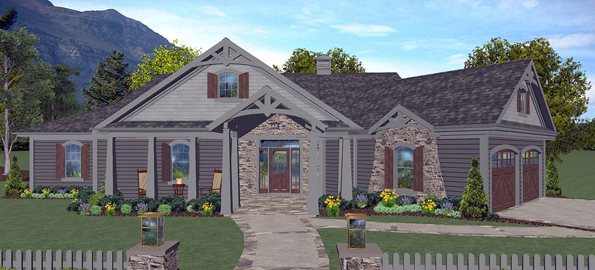 Craftsman, Ranch, Tuscan House Plan 74866 with 3 Beds, 3 Baths, 2 Car Garage Elevation