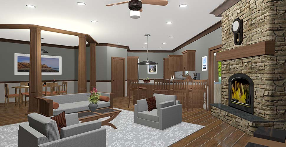 Craftsman, Ranch, Tuscan House Plan 74866 with 3 Beds, 3 Baths, 2 Car Garage Picture 9