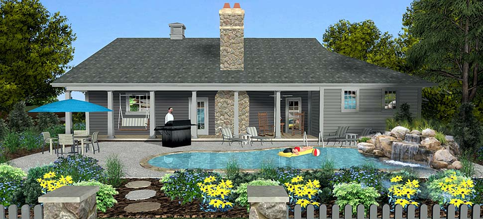 Craftsman, Ranch, Tuscan House Plan 74866 with 3 Beds, 3 Baths, 2 Car Garage Rear Elevation