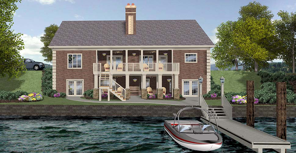 Craftsman, Traditional House Plan 74867 with 4 Beds, 5 Baths, 3 Car Garage Rear Elevation