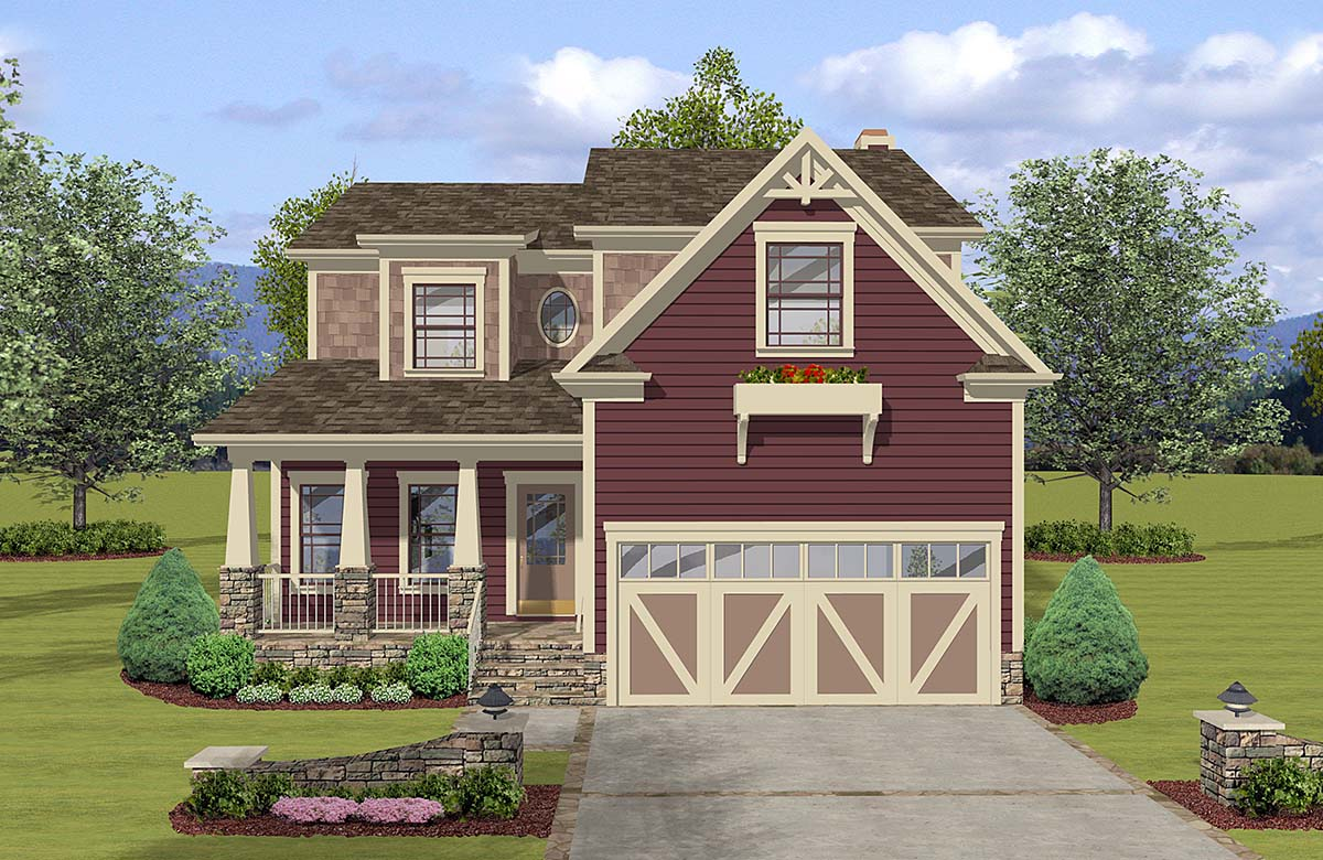 Craftsman, Farmhouse, Narrow Lot, Traditional House Plan 74869 with 3 Beds , 3 Baths , 2 Car Garage Elevation