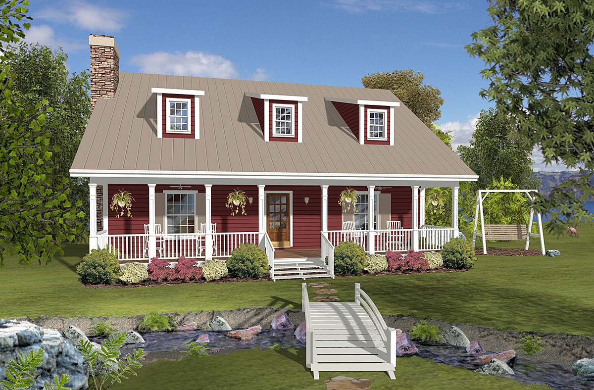 Country, Ranch, Southern House Plan 74872 with 3 Beds , 3 Baths Elevation
