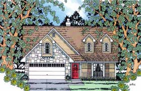 House Plan 75005 | Country Style Plan with 1604 Sq Ft, 3 Bedrooms, 3 Bathrooms, 2 Car Garage Elevation