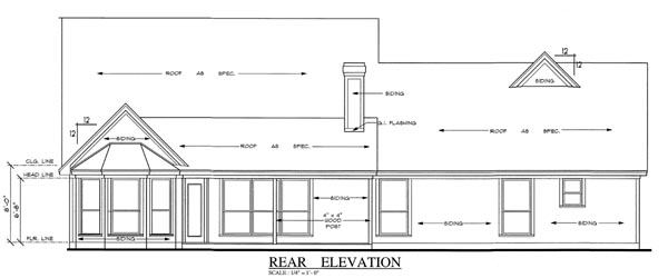 Country House Plan 75006 Rear Elevation
