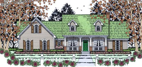 Country Traditional House Plan 75015 Elevation