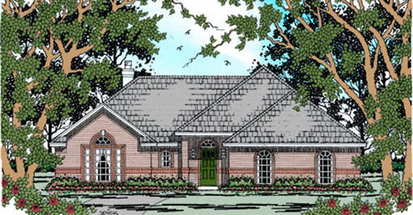 House Plan 75037 | Traditional Style Plan with 1589 Sq Ft, 3 Bedrooms, 2 Bathrooms, 2 Car Garage Elevation