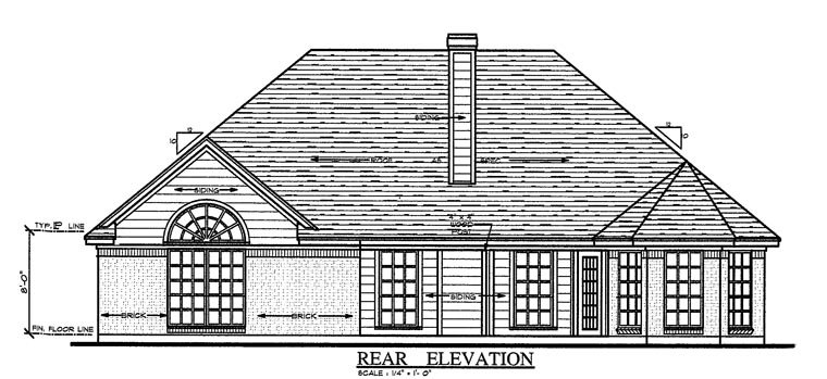 Country Traditional House Plan 75055 Rear Elevation