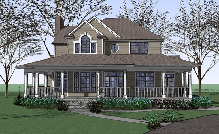Country Farmhouse Victorian House Plan 75102 Elevation