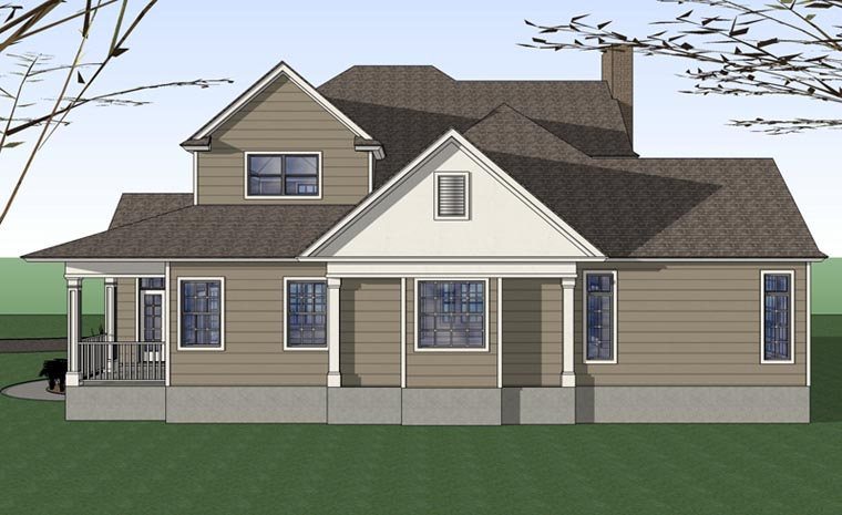 Country, Farmhouse, Victorian House Plan 75102 with 3 Beds, 3 Baths Rear Elevation