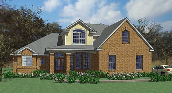 Contemporary, European, Modern House Plan 75103 with 4 Beds, 3 Baths, 2 Car Garage Elevation
