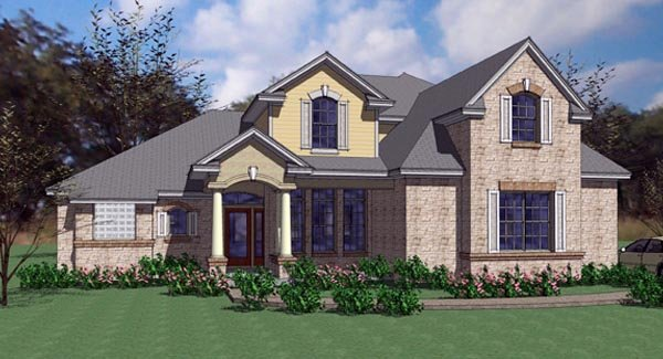 Contemporary, European, Modern House Plan 75104 with 4 Beds, 3 Baths, 2 Car Garage Elevation